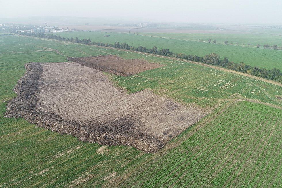 Stavba Biocentra Veklice na okraji Senice na Hané, pohled z dronu