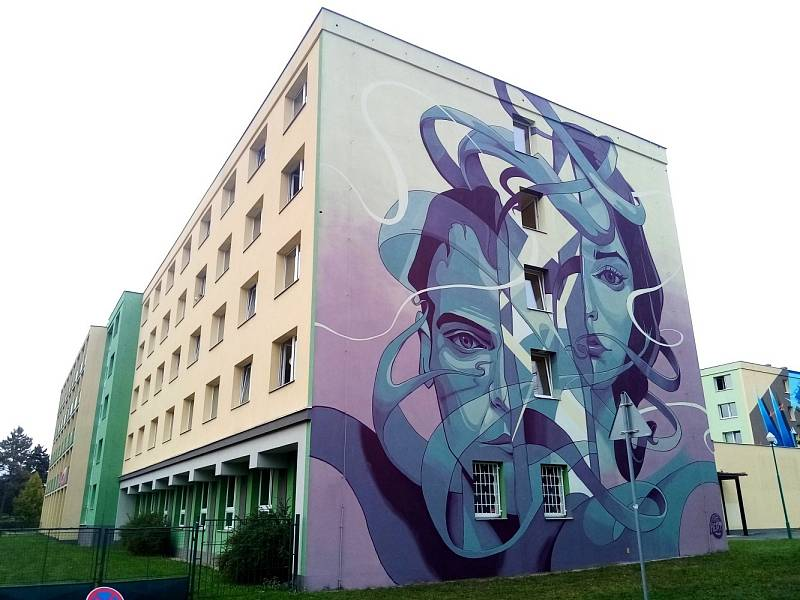 Autor FatHeat, VŠ koleje. Street art v Olomouci