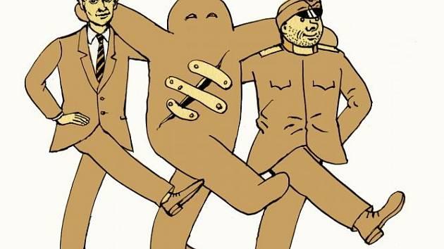 Kafka, Golem a Švejk. Ilustrace Jiřího Slívy