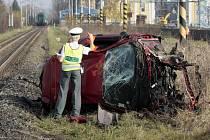 Srážka vlaku s autem ve Vrbátkách.