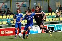 Fotbalisté HFK Olomouc (v černém) porazili v zápase 25. kola MSFL Sigmu B 4:0.