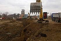 Stavba obchodního centra Šantovka v areálu bývalého Mila