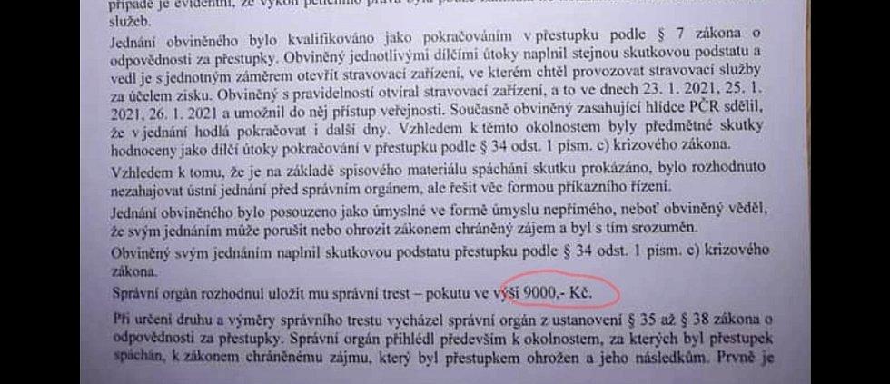 Provozovatel restaurace U Ervina v Hlubočkách dostal za rebelii pokutu 9 tisíc korun.