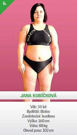 6 / Jana Kubíčková - Věk: 34let - Bydliště: Blatec - Zaměstnání: švadlena - Výška: 160cm - Váha: 88kg - Obvod pasu: 102cm