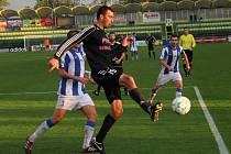 Fotbalisté 1. HFK Olomouc (v černém) porazili v domácím zápase 8. kola druhé ligy Čáslav 4:2.