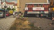 Olomoucká tramvaj T3 v centru Brandýsa nad Labem-Staré Boleslavi