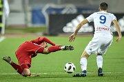 Utkání 19. kola první fotbalové ligy: Baník Ostrava - Sigma Olomouc, 14. prosince 2018 v Ostravě. Na snímku (zleva) David Houska a Lukáš Pazdera.