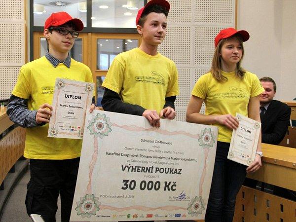1. místo Delta (ZŠ Litovel, Jungmannova 655) – Kateřina Dospivová, Roman Nevrlý, Marek Solovský