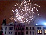 Novoroční ohňostroj na Horním náměstí v Olomouci 2016
