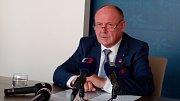 Olomoucký hejtman Ladislav Okleštěk (ANO) na tiskové konferenci k prezidentské návštěvě.