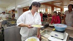 Školní kuchyň a jídelna na ZŠ M. Horákové v Olomouci. Ilustrační foto