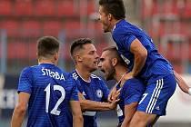 Martin Sladký (druhý zprava) slaví se spoluhráči první gól Sigmy do sítě Kajratu