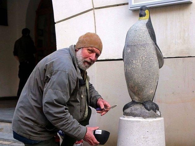 Na olomoucké Dolní náměstí se po zimní pauze v ateliéru Milana Poliána vrací plastika tučňáka