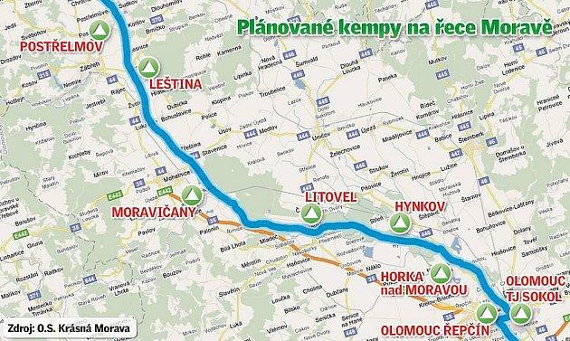 Plánované kempy na řece Moravě. Zdroj: o.s. Krásná Morava