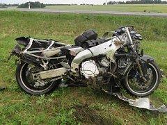 Srážka motocyklu s dodávkou u Šternberka
