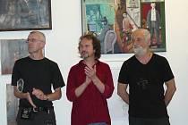 Výtvarníci (zprava) Jindřich Štreit, Vít John a Vladimír Havlík.