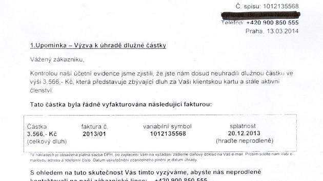 Podvodný dopis směřovaný některým obyvatelům Olomouckého kraje - výňatek z dopisu