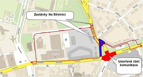 Objížďka stavby rondelu pro autobusy MHD od 23.7.2012
