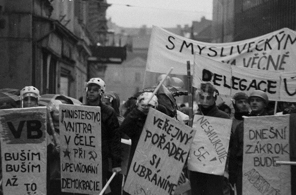 Happening studentů UP. Sametová revoluce v Olomouci
