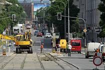 Oprava tramvajové trati na Žižkově náměstí