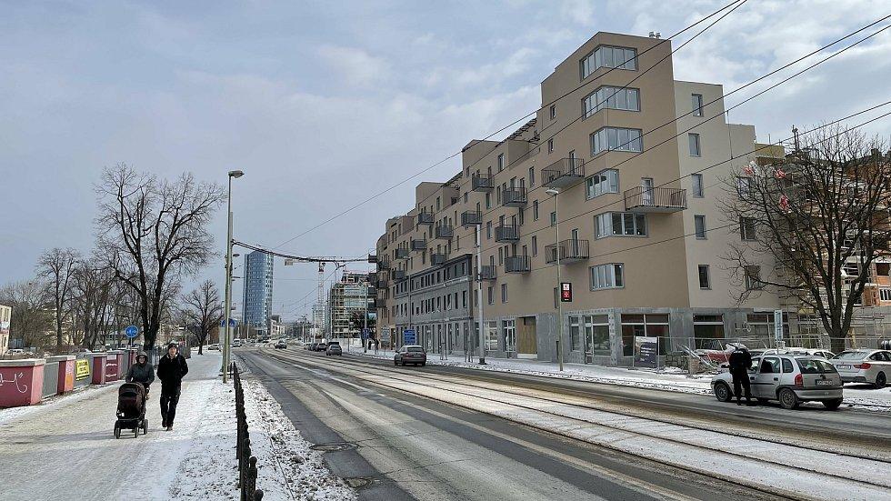 Výstavba na třídách Kosmonautů a 17. listopadu v Olomouci, 12. února 2021