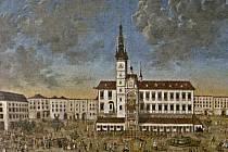 Výřez z šestimetrového obrazu zachycujícího vjezd kardinála Troyera do Olomouce
