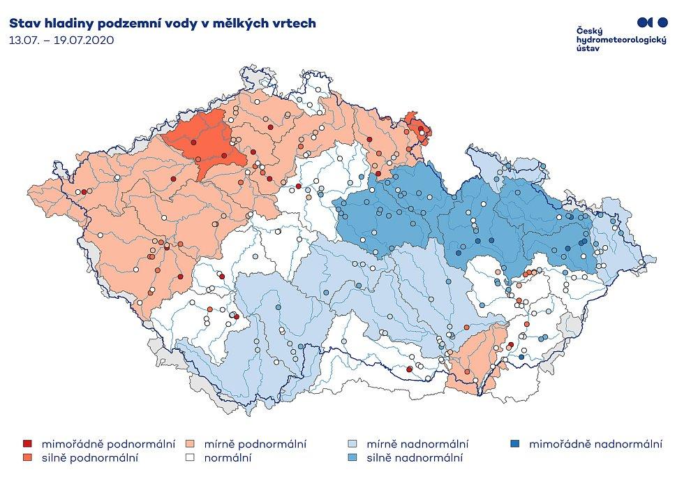 Stav hladiny podzemní vody v mělkých vrtech.