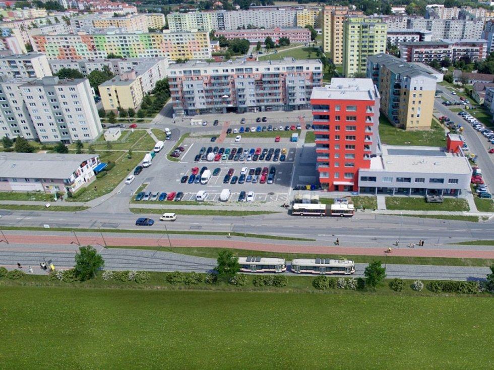 Vizualizace: konečná zastávka ve Schweitzerově ulici