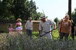 Sobotní dopoledne v Hanáckém skanzenu v Příkazích. Na programu bylo sekání obilí starou kosou a tvarohový den