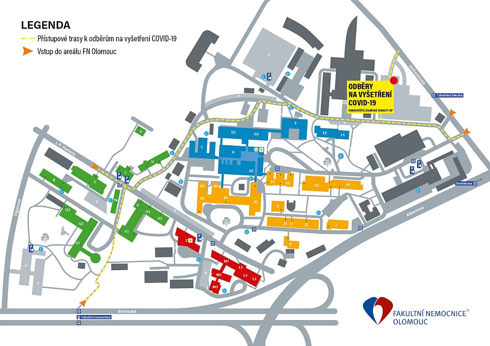 Mapa nového odběrového místa na koronavir v Olomouci
