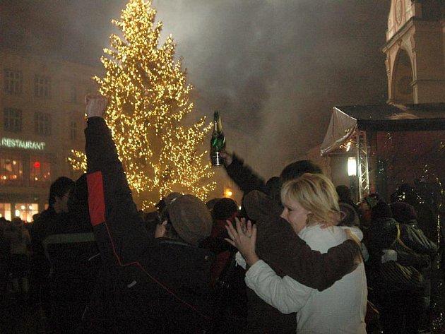 Oslavy příchodu roku 2010 v Olomouci.