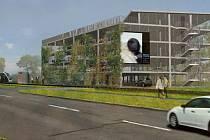 Vizualizace parkovacího domu u chystané tramvajové trati ve Slavoníně
