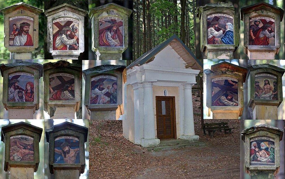 Střítežská lesní kaple Panny Marie a zastavení křížové cesty