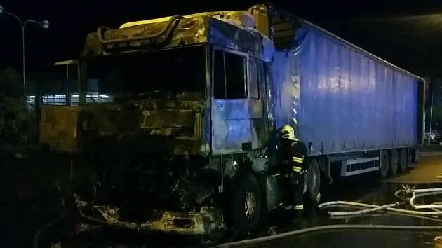 Požár náklaďáku v Brněnské ulici v Olomouci