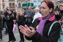 Protest proti vládě v Olomouci organizovaný Holešovskou výzvou