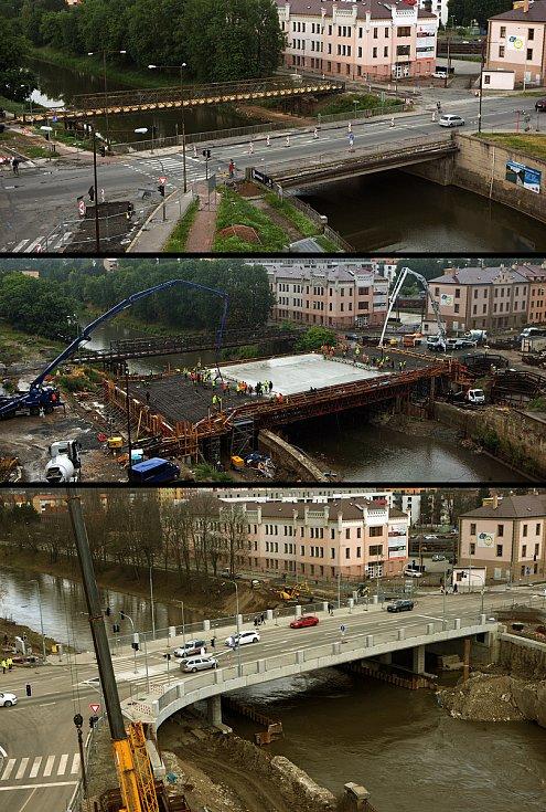 Starý most u Bristolu před bouráním v květnu 2018 (nahoře), betonáž nového mostu v červenci 2019 (uprostřed) a nový most po zprovoznění 27. února 2020 (dole)
