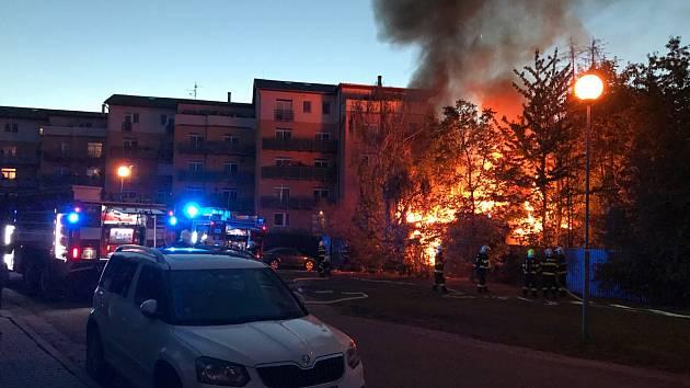 Požár opuštěné budovy na Horním lánu v Olomouci