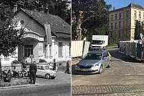 Bývalá hlavní brána do olomoucké fakultní nemocnice na historickém snímku (vlevo). Začátkem června 2019 nadobro zmizela (vpravo)
