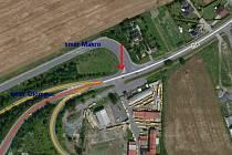 Křižovatka na příjezdu do Velké Bystřice, kde vznikne rondel