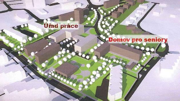 Vizualizace územní studie v lokalitě Mošnerova