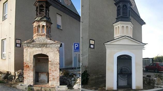 Kaple sv. Floriána v Lutíně před obnovou (vlevo) a po rekonstrukci