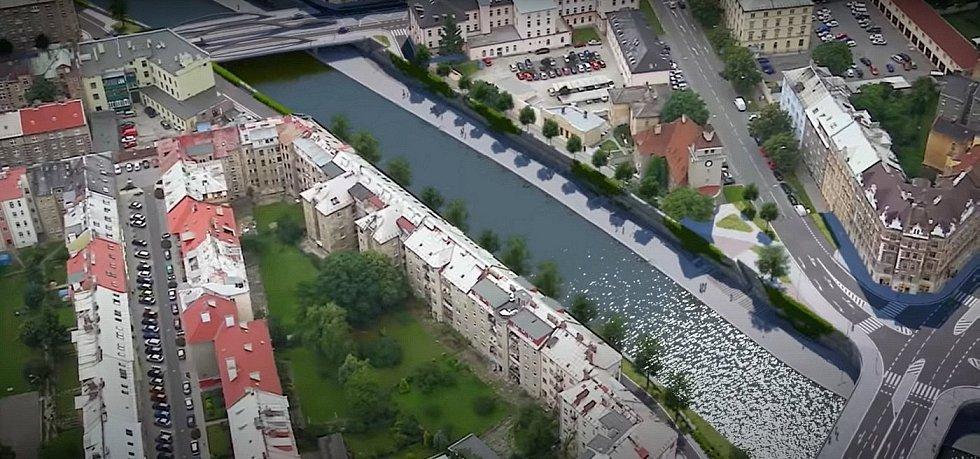 Vizualizace náplavky a úprav nábřeží kolem řeky Moravy v centru Olomouce