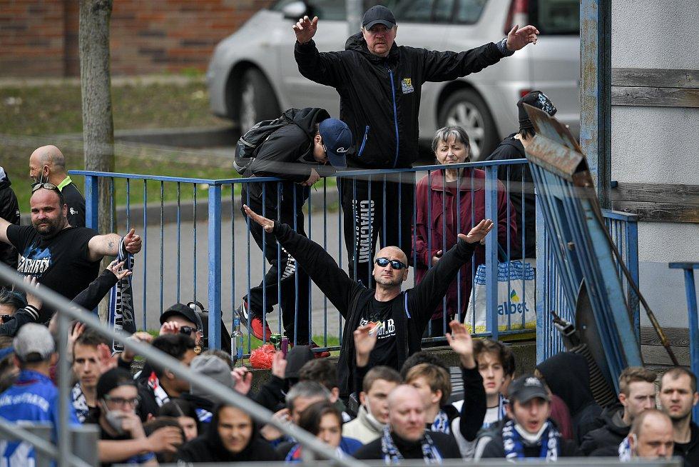 Utkání 29. kola první fotbalové ligy: Sigma Olomouc - Baník Ostrava, 24. dubna 2021 v Olomouci. Fanoušci Baníku.