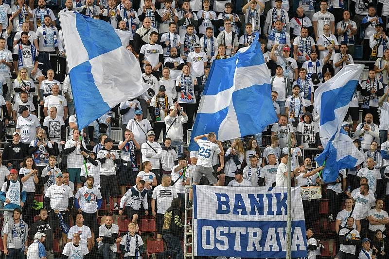 Utkání 8. kola první fotbalové ligy: SK Sigma Olomouc - FC Baník Ostrava 17. září 2021 v Olomouci. Fanoušci Baníku.