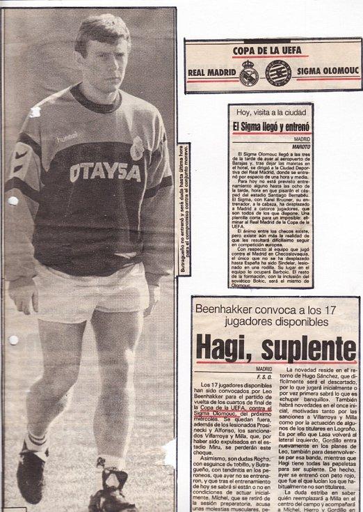 V březnu 1992 se Sigma Olomouc ve čtvrtfinále Poháru UEFA utkala s Realem Madrid (1:1 doma, 0:1 venku). Emilio Butragueňo