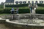 Fontána v zámeckém parku v Náměšti na Hané. 17. června 2020