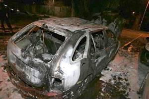 Požár auta na Černé cestě v Olomouci, 14.2.2020
