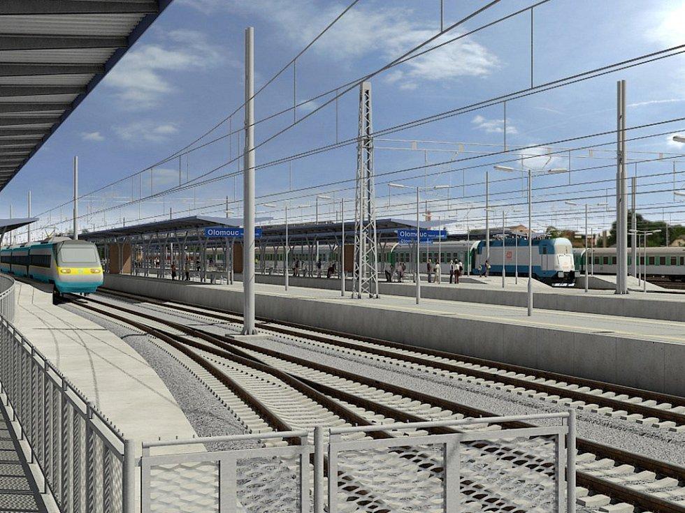 Vizualizace přestavby Železniční stanice Olomouc - Proměnou kromě kolejí projdou také nástupiště