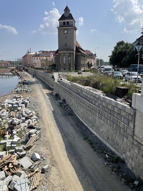 Stavba protipovodňových opatření v centru Olomouce, 24. června 2021