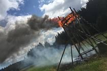 Požár kazatelny v Jívové